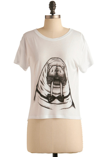 Portrait Pose Top in Walrus - White, Black, Print with Animals, Short Sleeves, Short, Casual, Spring, Summer, International Designer