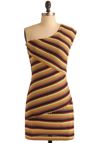 Cornucopia Cute Dress - Multi, Stripes, Knitted, Shift, One Shoulder, Party, Fall, Short, Sweater Dress, Girls Night Out, Bodycon / Bandage