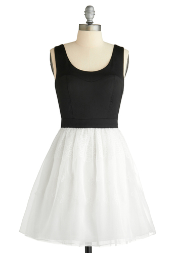 Frosted with Fancy Dress - Party, Casual, A-line, Tank top (2 thick straps), Spring, Summer, Fall, Black, White, Mid-length