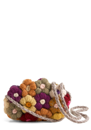 Crocheted Bouquet Bag - Green, Blue, Purple, Cream, Multi, Floral, Flower, Casual, Fall, Winter
