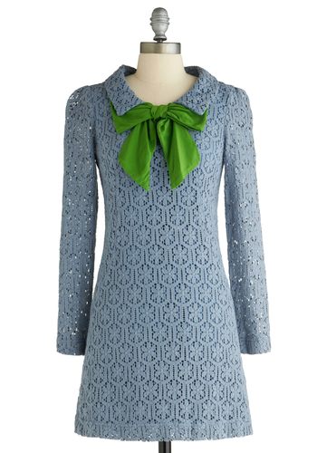 Oceanside Dreaming Dress - Blue, Green, Floral, Bows, Lace, Long Sleeve, Work, Vintage Inspired, Fall, Winter, 60s, Sheath / Shift, Mid-length