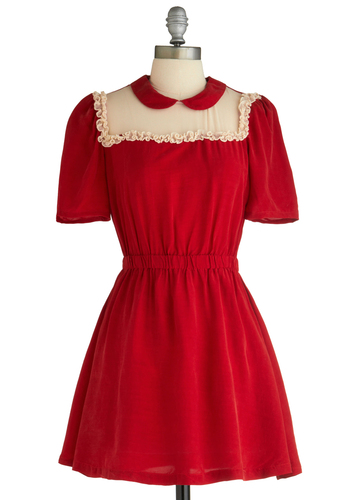 Memorable Moments Dress - Red, Tan / Cream, Peter Pan Collar, Ruffles, A-line, Short Sleeves, Solid, Mid-length, Vintage Inspired, Exclusives