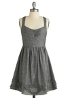 Dazzle in the Details Dress - Grey, Solid, Ruffles, Party, A-line, Tank top (2 thick straps), Spring, Summer, Show On Featured Sale, Show On Featured Sale, Short