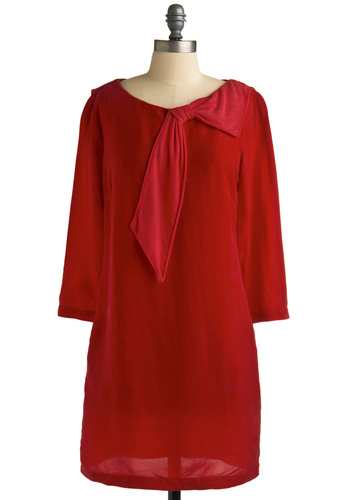Gosh Garnet Dress - Red, Solid, Bows, 3/4 Sleeve, Casual, Sack, Fall, Mid-length