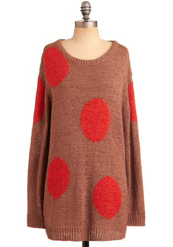 Studio Artist Top by Nümph - Brown, Red, Polka Dots, Long Sleeve, Casual, 80s, Fall, Winter, Long