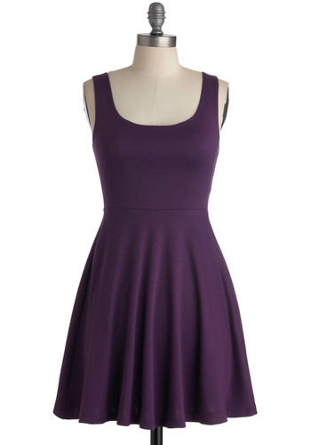 Join Us Dress - Purple, Solid, A-line, Tank top (2 thick straps), Casual, Summer, Holiday Sale, Minimal, Mini, Short