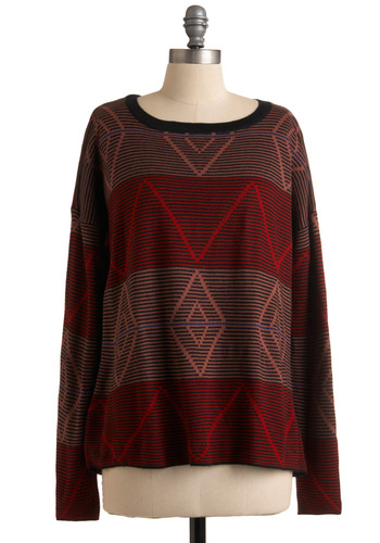 Silent Disco Sweater by Jack by BB Dakota - Red, Multi, Stripes, Print, Long Sleeve, Casual, Fall, Winter, Mid-length