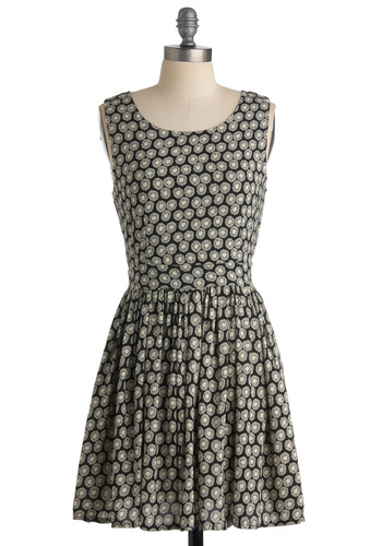 Quaint and Dainty Dress - Floral, A-line, Sleeveless, Backless, Casual, Spring, Summer, Fall, Tan / Cream, Black, Print, Short