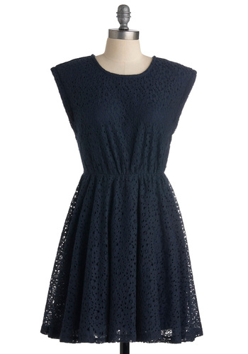Neighborly in Navy Dress - Blue, Floral, Cutout, Lace, A-line, Solid, Casual, Sleeveless, Spring, Summer, Fall, Short