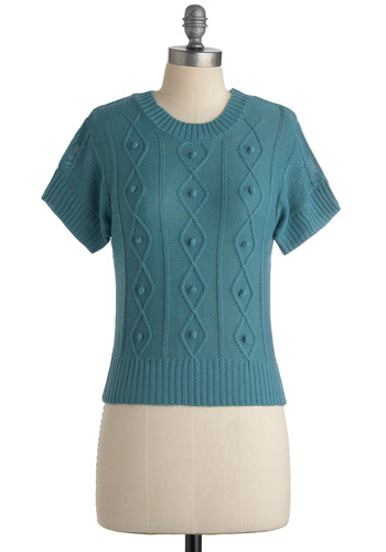 Rotary Phone Top by Tulle Clothing - Blue, Solid, Knitted, Short Sleeves, Casual, Fall, Short