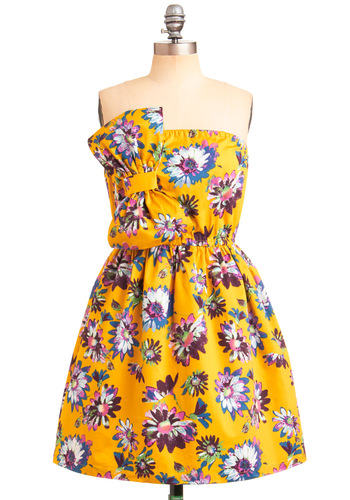 One of These Daisies Dress - Yellow, Purple, Multi, Floral, Bows, A-line, Strapless, Wedding, Party, Vintage Inspired, Spring, Summer, Mid-length