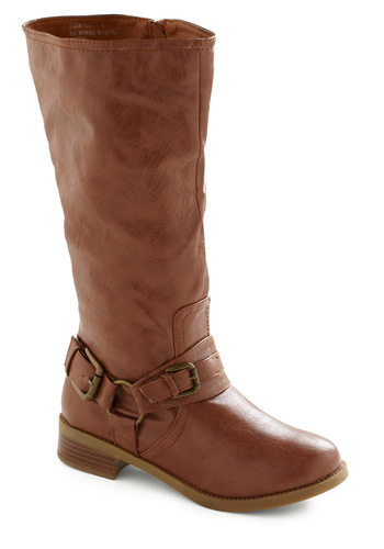 Anything but Bored Boot - Tan, Solid, Buckles, Casual, Fall, Winter