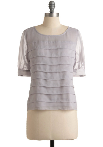 Tin Around the World Top by Tulle Clothing - Solid, Pleats, Tiered, 3/4 Sleeve, Work, Spring, Summer, Fall, Grey, Mid-length