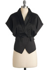 Friday at Five Blazer by Tulle Clothing - Black, Solid, Short Sleeves, Work, Vintage Inspired, Spring, Fall, Mid-length, 2