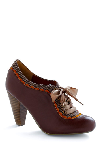 About the Benjamins Heel in Chocolate by Poetic License - Brown, Orange, Purple, Tan / Cream, Houndstooth, Scallops, Work