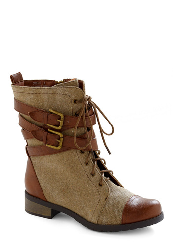 Be Buckle Soon Boot - Brown, Tan, Buckles, Casual, Fall, Winter, Steampunk, Military, Top Rated, Safari
