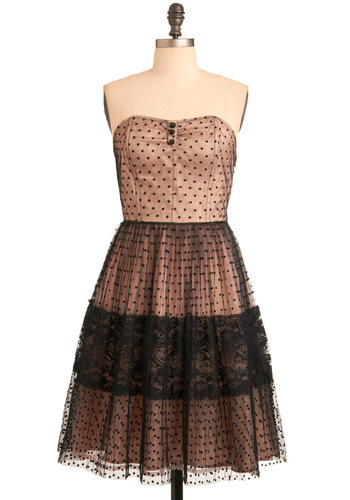 Vespertine Scene Dress - Polka Dots, Lace, A-line, Strapless, Spaghetti Straps, Tan, Wedding, Party, Black, Special Occasion, Prom, Long