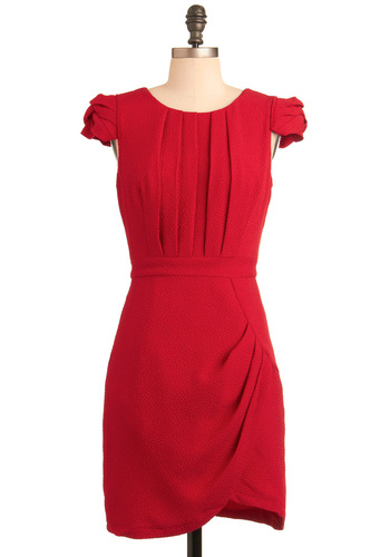 Radiant Ruby Dress - Red, Solid, Pleats, Shift, Cap Sleeves, Wedding, Party, Mid-length