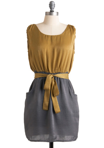 Always Original Dress - Yellow, Twofer, Sleeveless, Party, Grey, Show On Featured Sale, Show On Featured Sale, Short, Belted, Colorblocking