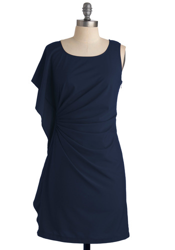 Special Accomplishments Dress in Navy - Blue, Solid, Shift, Short Sleeves, Sleeveless, Ruffles, Casual, Mid-length