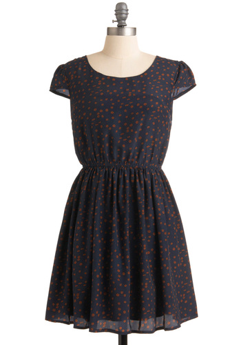 Sifted Cocoa Dress - Blue, Brown, A-line, Polka Dots, Casual, Cap Sleeves, Mid-length