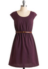 Keep in Touch Dress - Purple, Solid, Cutout, A-line, Cap Sleeves, Mid-length, Brown, Buckles, Casual, Belted