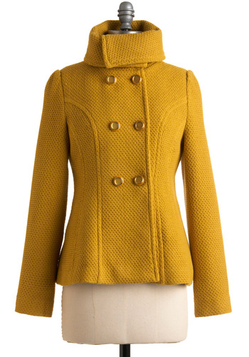 Have a Gold Day Jacket by Tulle Clothing - Yellow, Solid, Long Sleeve, Fall, Winter, 3, Press Placement, Mid-length