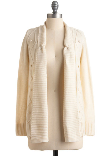Embrace It Cardigan by Tulle Clothing - Solid, Knitted, Long Sleeve, Casual, Mid-length, White
