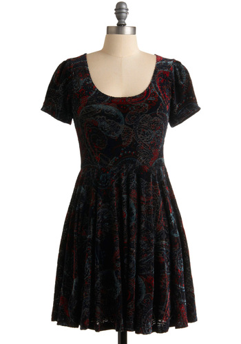 Drive Me Paisley Dress by Mink Pink - Black, Paisley, A-line, Short Sleeves, Multi, Party, Casual, Fall, Winter, Short