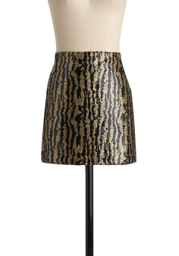 Sequ-Ins and Outs Skirts by Tulle Clothing - Gold, Sequins, Animal Print, Party, Short, Black