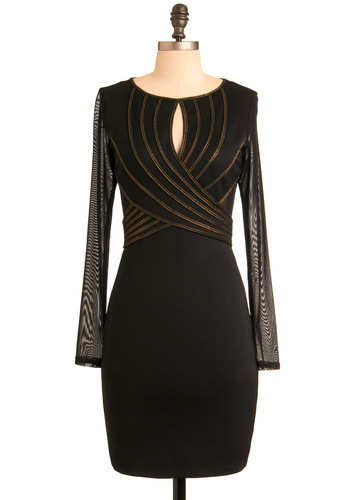 Terrific Tonight Dress - Black, Gold, Shift, Long Sleeve, Special Occasion, Wedding, Party, Mid-length