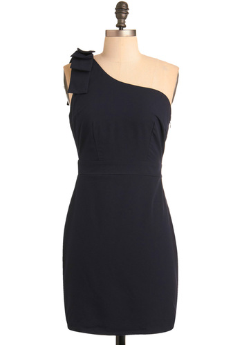 Symphony Seating Dress - Blue, Solid, Pleats, Sheath / Shift, One Shoulder, Wedding, Party, Fall, Show On Featured Sale, Show On Featured Sale, Short