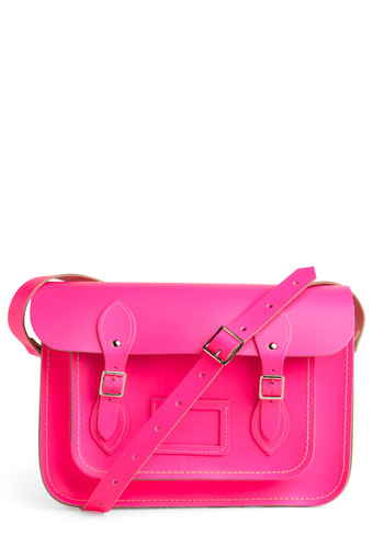"Cambridge Satchel Company Bag in Neon Pink - 13"" by The Cambridge Satchel Company  - Pink, Party, Work, Neon, Scholastic/Collegiate, Leather, International Designer, Graduation"