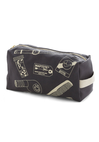 Style Survival Kit Toiletry Bag - Grey, White, Novelty Print, Travel