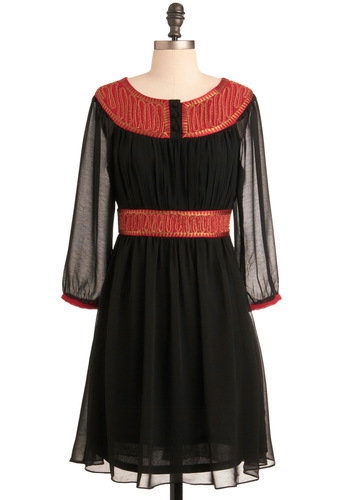 Love's Splendor Dress - Black, Red, Gold, Embroidery, A-line, 3/4 Sleeve, Party, Fall, Mid-length