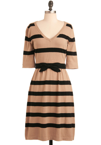 Great to See You Dress - Cream, Black, Stripes, A-line, 3/4 Sleeve, Party, Sweater Dress, Fall, Long