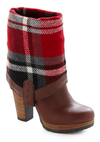 Log Cabin Coalition Boot - Brown, Plaid, Casual, Fall, Winter, Red, Black, White