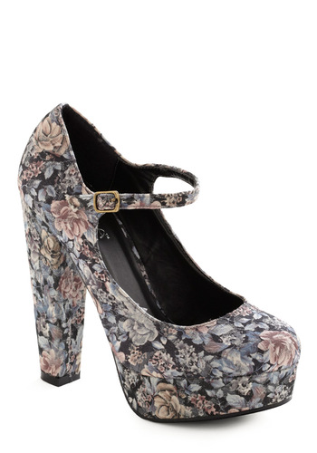 Breathtaking Bouquet Heel - Multi, Floral, Rockabilly, Pinup