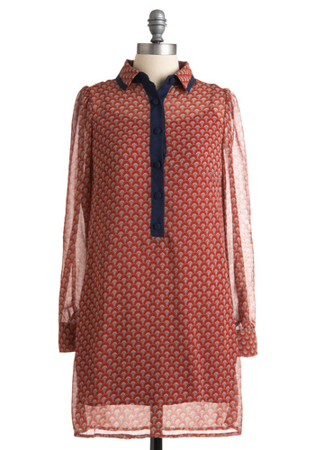 Daybreak Darling Dress - Red, Blue, Print, Long Sleeve, Multi, White, Buttons, Shirt Dress, Casual, Sheath / Shift, Fall, Short, Sheer, 20s, Collared