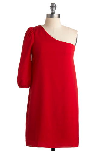 Go Get 'Em Dress in Red - Red, Solid, Shift, One Shoulder, Party, Summer, Fall, Short