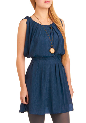 Aquarius Rising Dress - Blue, Solid, A-line, Sleeveless, Party, Spring, Summer, Fall, Show On Featured Sale, Show On Featured Sale, Short