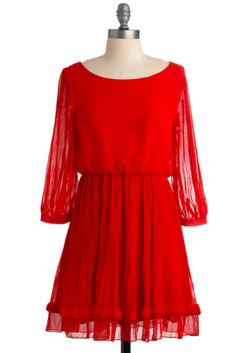 Red at Night Dress - Red, Solid, A-line, 3/4 Sleeve, Pleats, Party, Long Sleeve, Fall, Short, Boat