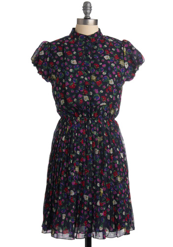 Floral Frenzy Dress - Blue, Red, Purple, Multi, Floral, A-line, Short Sleeves, Work, Fall, Mid-length