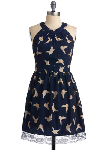 Wing It On Dress - Blue, Print with Animals, Cutout, Lace, A-line, Sleeveless, Party, Backless, Mid-length, Holiday Sale, Tan / Cream