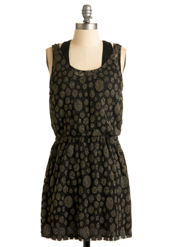 This N'at Dress - Black, Print, A-line, Sleeveless, Racerback, Party, Casual, Fall, Gold, Mid-length