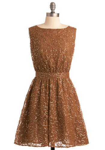 Shimmering Stars Dress - Brown, Floral, Lace, Sequins, A-line, Sleeveless, Special Occasion, Wedding, Party, Vintage Inspired, Fall, Backless, Mid-length, International Designer