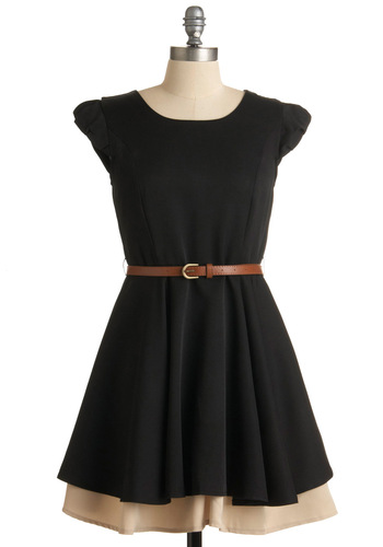 Work Wonders Dress - Black, Tan / Cream, Tiered, A-line, Cap Sleeves, Solid, Work, Casual, Steampunk, Belted, Fit & Flare, Mid-length