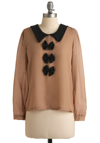 Cookie Cake Top - Black, Bows, Long Sleeve, Tan, Solid, Work, Casual, Fall, Winter, Mid-length
