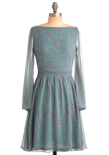 It's Gonna Be Bouquet Dress - Blue, Red, Tan / Cream, Floral, A-line, Long Sleeve, Casual, Spring, Fall, Mid-length