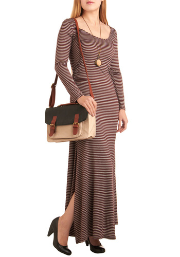 Guest Poetry Lecture Dress - Brown, Stripes, Long Sleeve, Maxi, Long, Grey, Casual, Fall, Scholastic/Collegiate, Holiday Sale